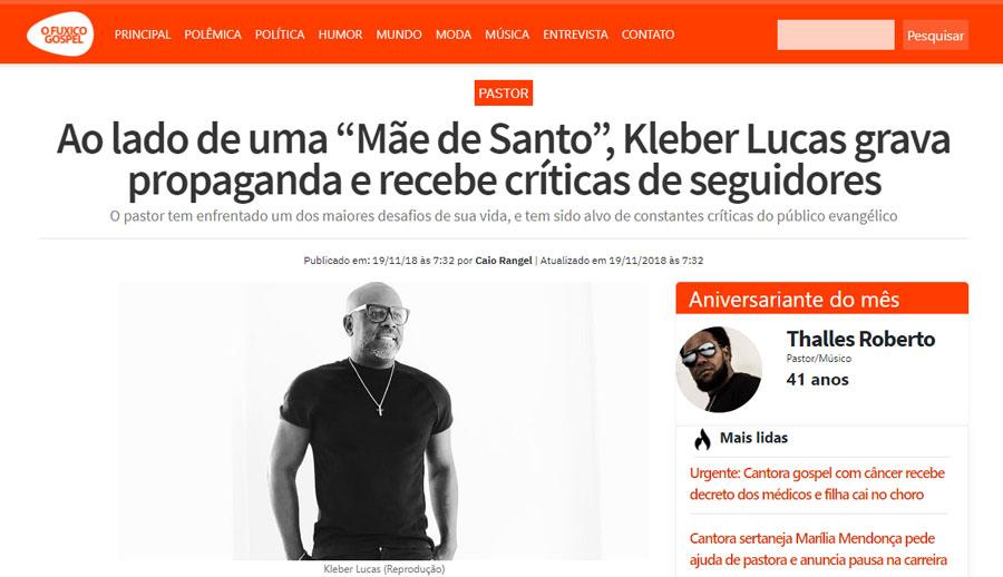 """O FUXICO GOSPEL   19 11 2018   Ao lado de uma """"Mãe de Santo"""", Kleber ... 39e2025c10"""